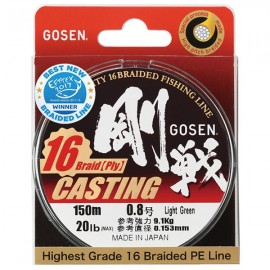 Шнур Gosen Casting 16 braid Green 150m #0.8 0,153mm 9,1kg